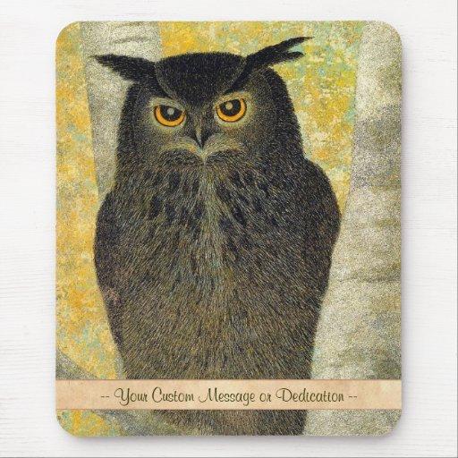 White Birch and Horned Owl Katsuda Yukio bird art Mousepads