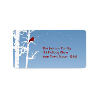 White Birch, Red Bird Address Label