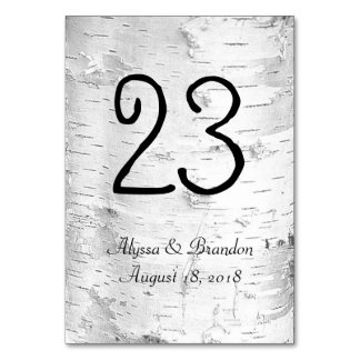White Birch Rustic Wedding Table Number Cards Table Cards