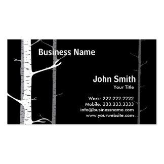 White Birch Trees Forest Dark business card