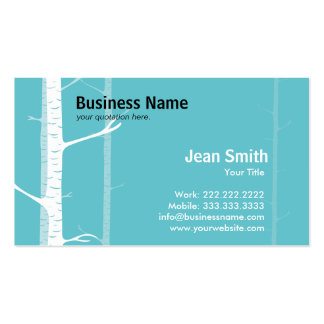 White Birch Trees Forest Green business card