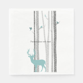 White Birch Trees with Deer and Birds Disposable Serviette
