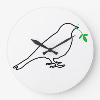 White Bird and Twig Clock
