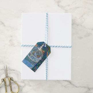 White bird cage gift tag