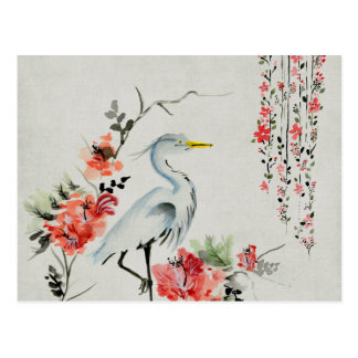 White Bird Flowers Drawing Art Postcard