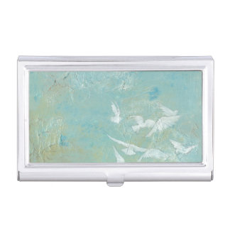 White Birds Flying Through Blue Sky Business Card Holder
