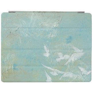 White Birds Flying Through Blue Sky iPad Cover