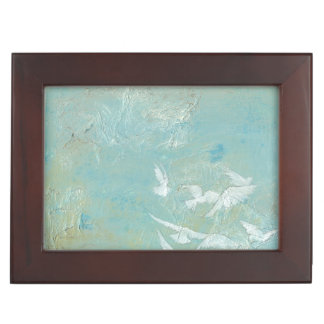 White Birds Flying Through Blue Sky Keepsake Box