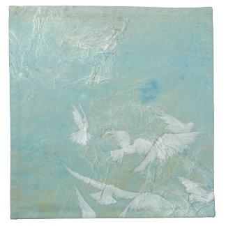 White Birds Flying Through Blue Sky Napkin