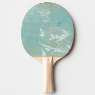 White Birds Flying Through Blue Sky Ping Pong Paddle
