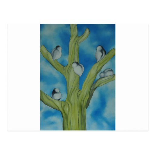 White birds in a tree postcard