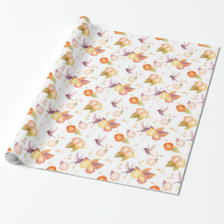 White Birds n' roses wrapping paper