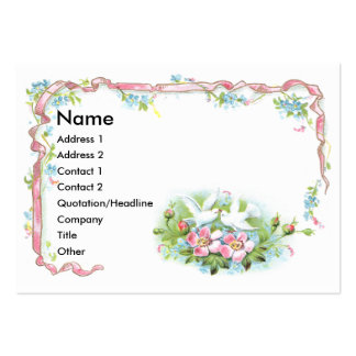 White Birds Pink Ribbon Wild Roses Business Card