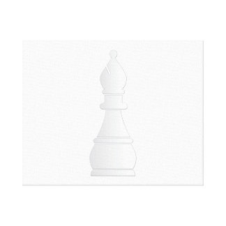 White bishop chess piece stretched canvas print