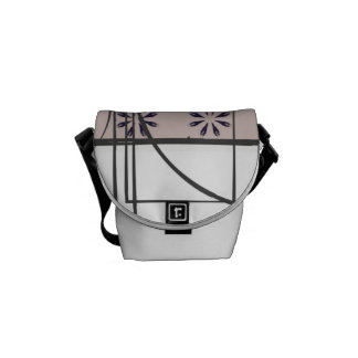 White Black and Blush Modern Design Abstract Messenger Bag