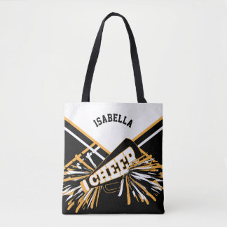 White, Black and Gold Cheerleader Design Tote Bag