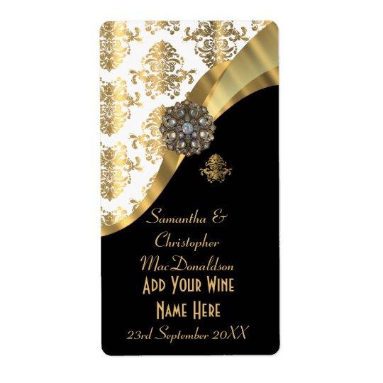 White, black and gold damask wedding wine bottle