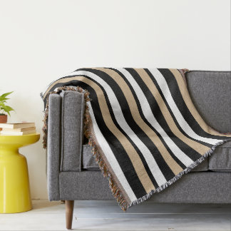 White Black and Gold Striped Throw Blanket
