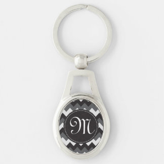 White, Black and Gray Chevron Key Chain Silver-Colored Oval Key Ring