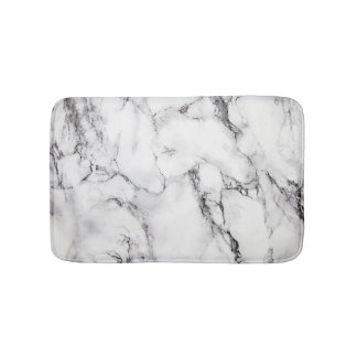 White Black And Gray Grain Marble Stone Bath Mat