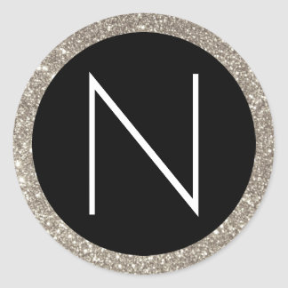 White Black and Silver Glitter Monogram Classic Round Sticker