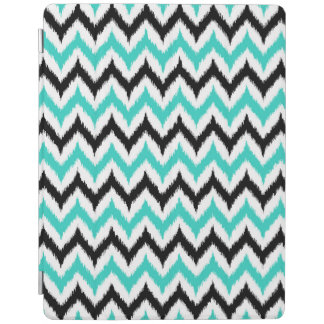 White, Black and Turquoise Zigzag Ikat Pattern iPad Cover