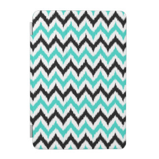 White, Black and Turquoise Zigzag Ikat Pattern iPad Mini Cover
