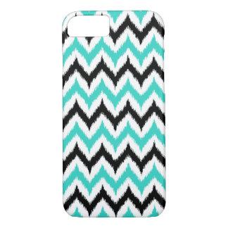 White, Black and Turquoise Zigzag Ikat Pattern iPhone 8/7 Case