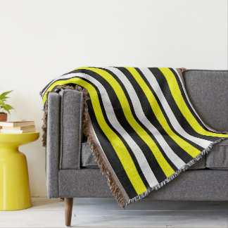 White Black and Yellow Striped Throw Blanket