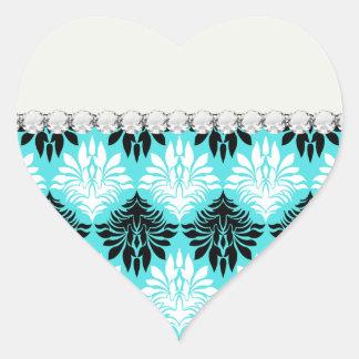 white black aqua trendy damask pattern stickers