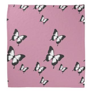 White black butterflies pink bandana