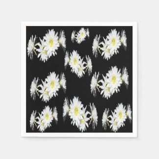 White Black Cacti Flower Envy Pattern, Disposable Napkin