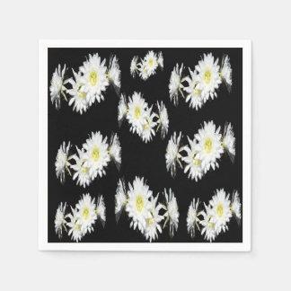 White Black Cacti Flower Envy Pattern, Paper Napkins