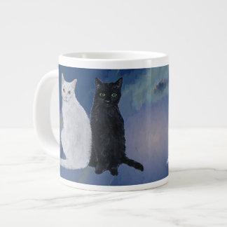 White & Black Cats Large Coffee Mug
