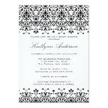 White & Black Damask Bridal Shower Invitation