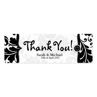 White black damask Wedding favor Gift tag Business Card