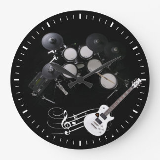 white black drums and guitar wall clock
