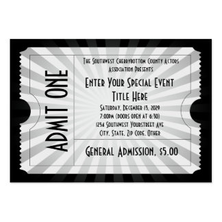 White + Black Event Ticket, Lg Business Card Size