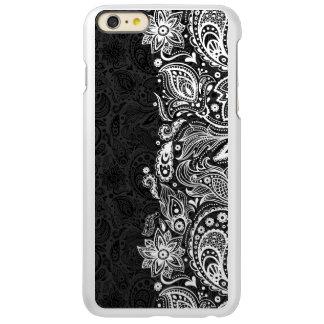 White & Black Floral Paisley Lace
