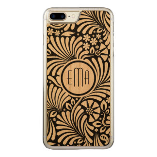 White & Black Floral Pattern Carved iPhone 8 Plus/7 Plus Case