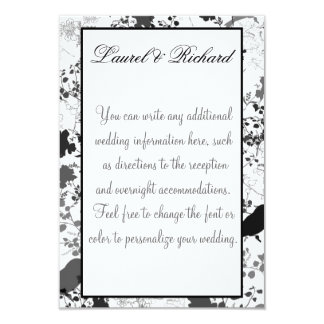 White & Black Floral Wedding Reception 9 Cm X 13 Cm Invitation Card