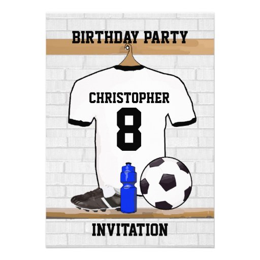 White Black Football Soccer Jersey Birthday Party Personalized Invites