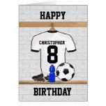 White Black Football Soccer Jersey Happy Birthday