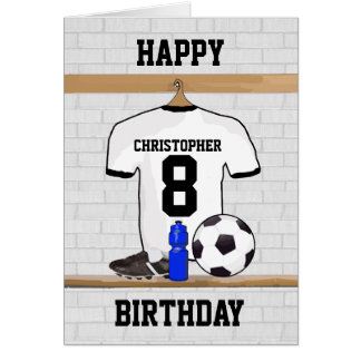 White Black Football Soccer Jersey Happy Birthday Card