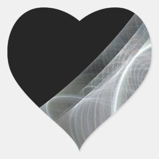 White & Black Fractal Background Heart Sticker