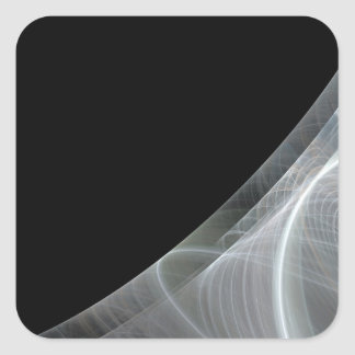 White & Black Fractal Background Square Sticker