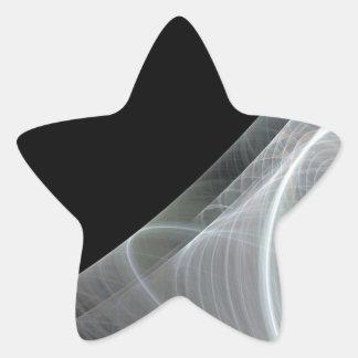 White & Black Fractal Background Star Sticker