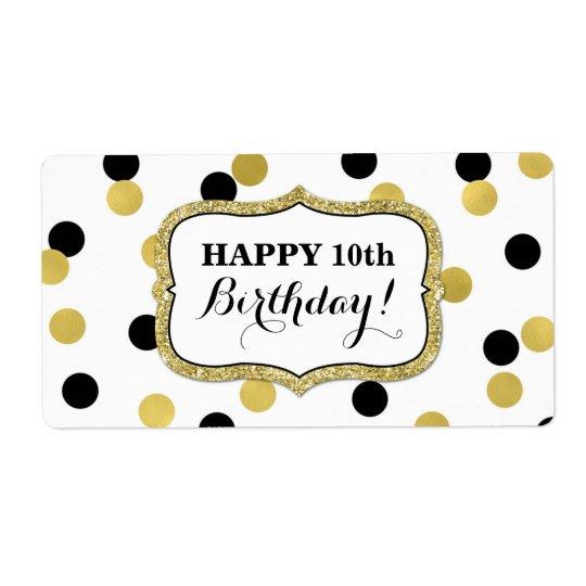 White Black Gold Confetti Birthday Labels