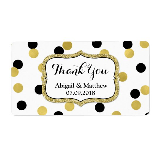 White Black Gold Confetti Wedding Labels