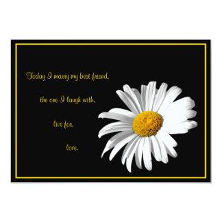 "White Black Gold Daisy Wedding Invitation 5"" X 7"" Invitation Card"